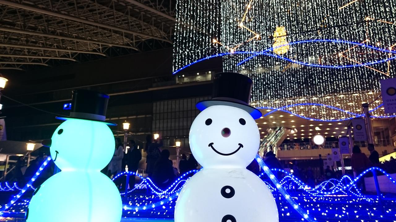 梅田「梅田スノーマンフェスティバル 2014」♪ゆきだるま、つく……
