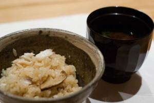 鯛と松茸と酢立の土鍋ご飯